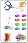 Buttons with needle, scissor and coil vector
