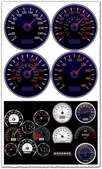 Car dashboard tachometers vector