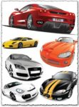 Sport cars in various colors and shapes