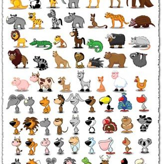 Cartoon animals and birds vectors