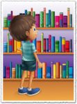 Cartoon boy in front of bookshelves vector