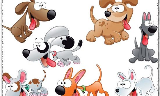 Cartoon dog characters vector