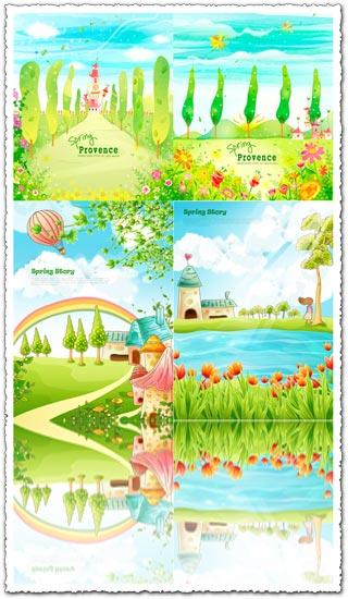 Cartoon fairy tale scenery vector