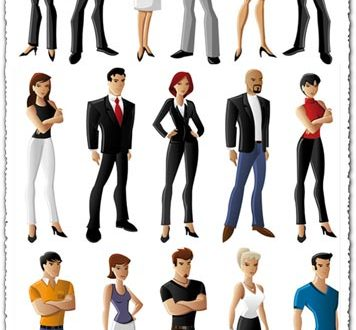 Cartoon people characters vector collar