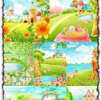 Cartoon spring vectors