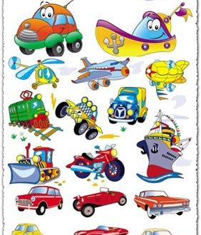 Cartoon transportation vectors
