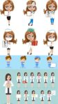 Cartoon woman doctors and nurses vector