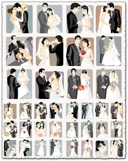 Cartoonish bride and groom vector cards