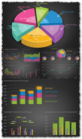 Charts and graphs vectors