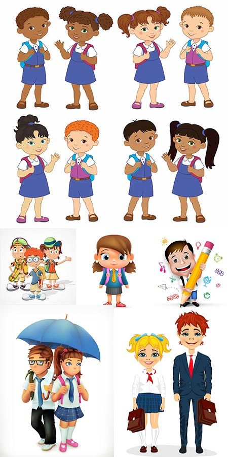 Children cartoon characters education vectors