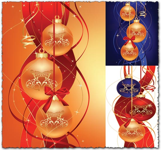 Vector Christmas balls with graphic elements