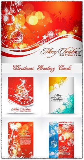Christmas greetings vector card models
