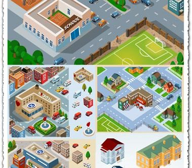 City buildings and houses vectors