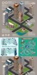 City eyebird view isometric vectors