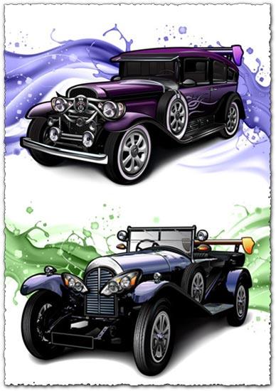 Classic cars with a splashy purple background