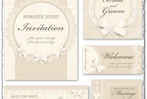 Classic wedding invitation vectors