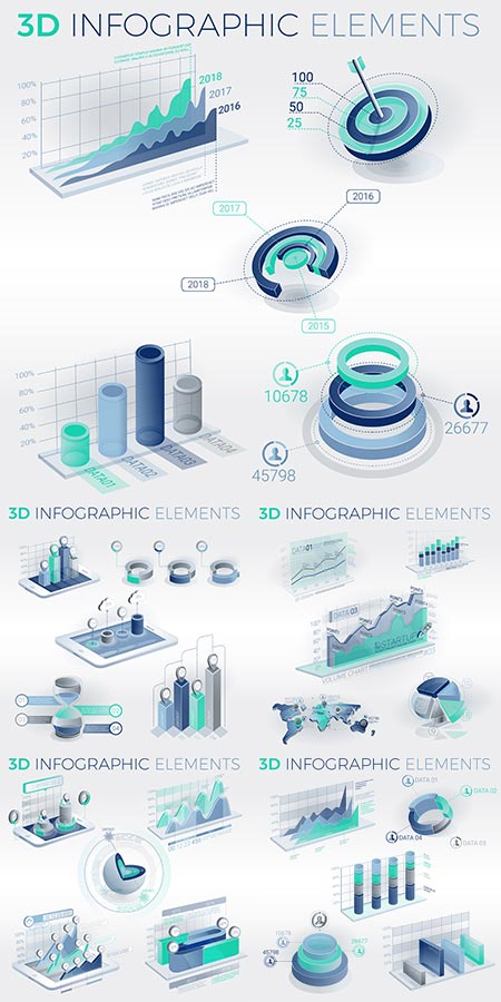 Clean corporate infographic vector bundle