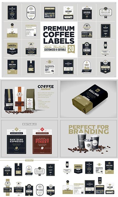 Coffee labels vector mockups