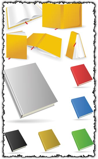 Colored books design vectors