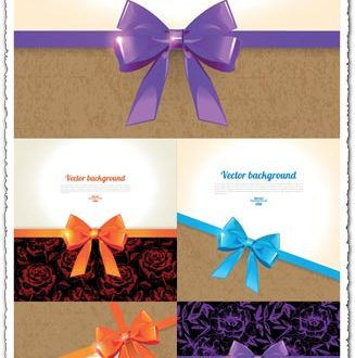 Colored bows on cards vectors