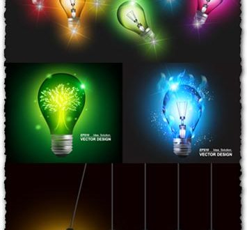Colored bulbs vector templates