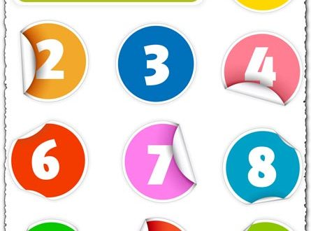 Colored numbers vector stickers
