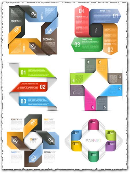 Colored origami vector banners