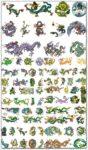 Colored tattoo dragons vectors