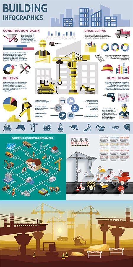 Construction engineering vector infographics