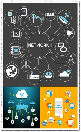 Creative network with flat icons vector