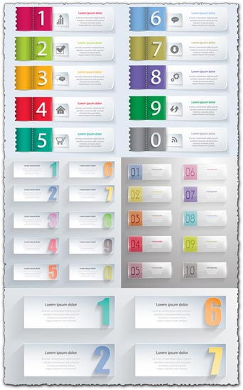 Creative paper banners with numbers vector