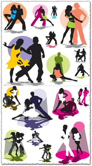Dancing latino music silhouettes vector