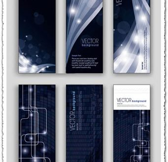 Dark technology vector banners