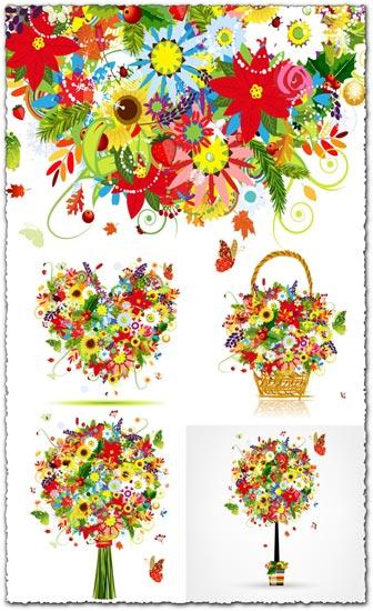 Decoration flowers bouquet illustrations