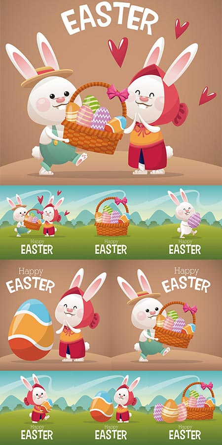 Decorative Easter greetings vector ornaments