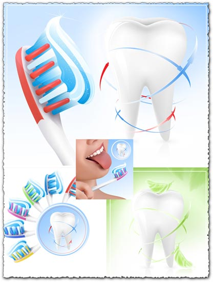 Dental care and tooth cleaning vectors
