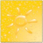 Sun with water drops on yellow background