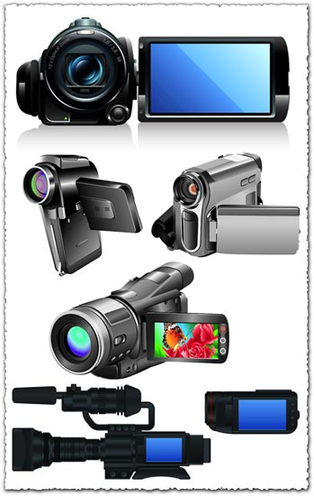 Digital camcorders and cameras vectors
