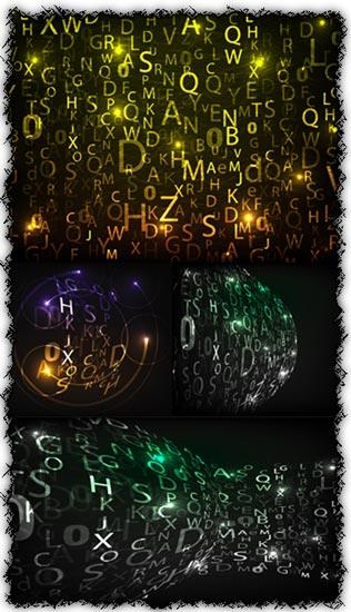 Digital collage words vectors