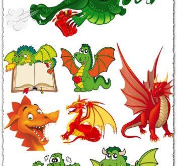 Dragons cartoon vectors design