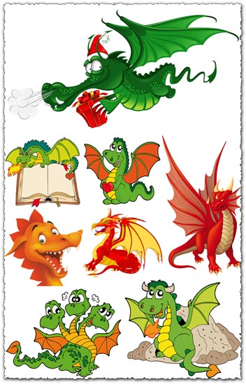 Dragons cartoon vectors design
