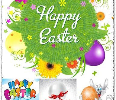 Easter cartoon vectors with eggs and rabbits