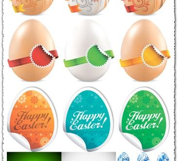 Easter eggs with stickers and paint vectors