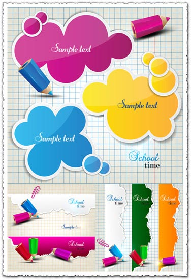 Educational banners vector objects