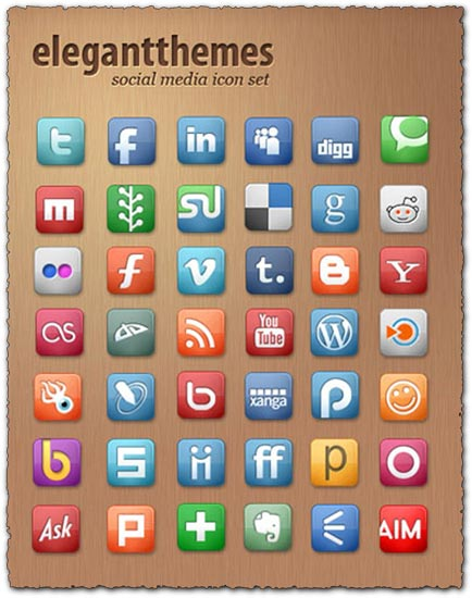 Elegant Themes social media icon set