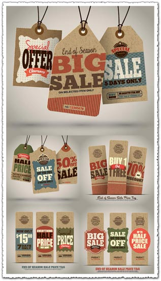 End of season sales price tags vector