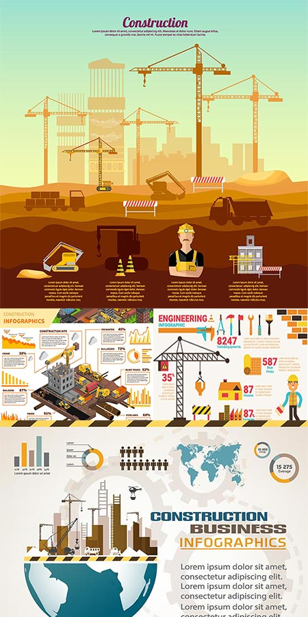 Engineering in construction vector infographics