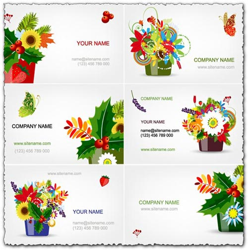 Eps cards with colored spring flowers vectors