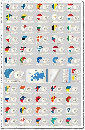 European countries flag labels