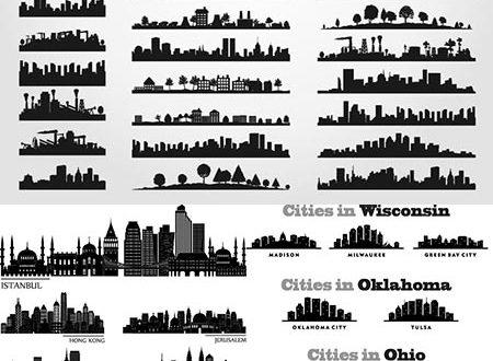 Famous skyscraper silhouettes vectors